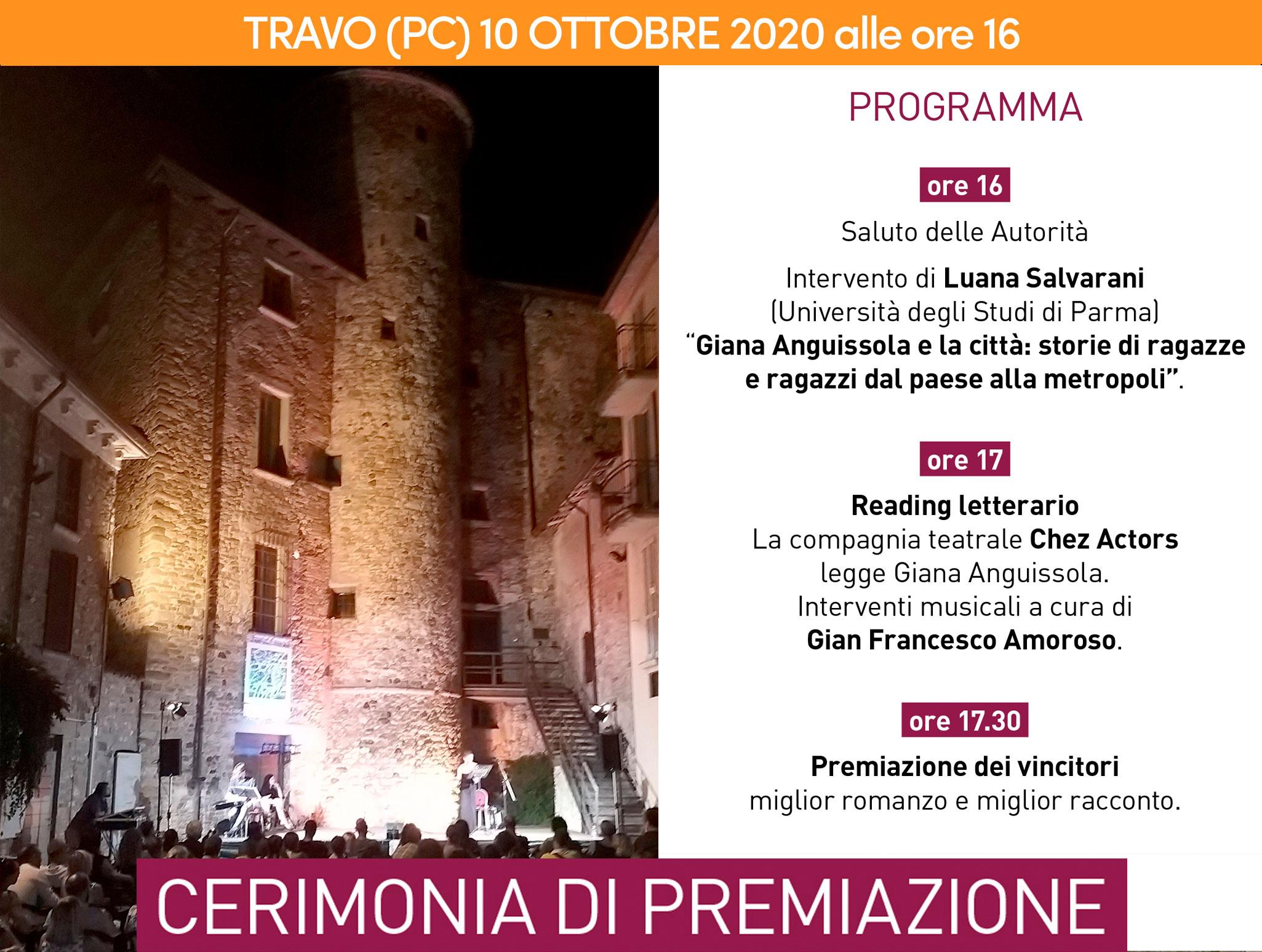 Invito alla premiazione dell'edizione 2020 del Concorso letterario Giana Anguissola